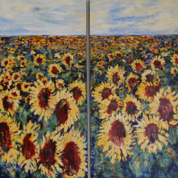 Field of Sunflowers diptych 120 X 60 each- Jan Primmer