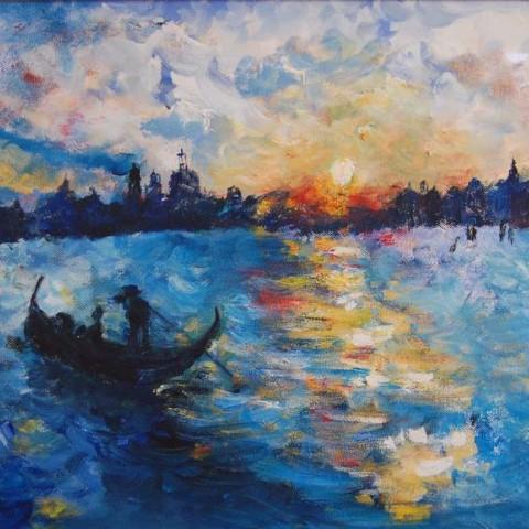 Italy -Venice 60 X 70 cm framed, Acrylic on canvas $250