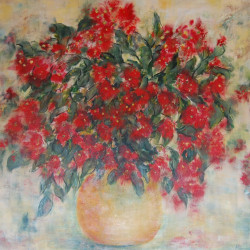 Jan Primmer - Red Flowering Eucalypt 90 X 90 cm